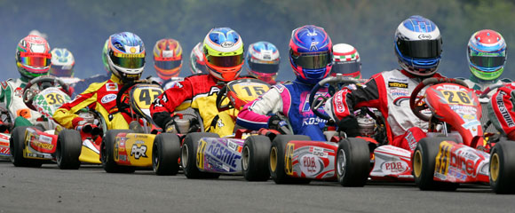 sprint karts prepare for a rolling race start